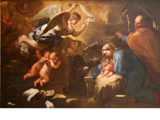 Nașterea lui Isus, ulei pe pânză, cca 1650, Luca Giordano (1634 – 1705)