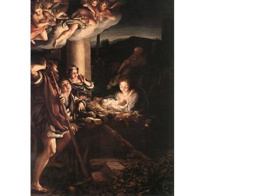 Adorația păstorilor, tablou de altar, ulei pe lemn, Correggio, 1528-1530